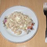 Салат из овощей с печенью