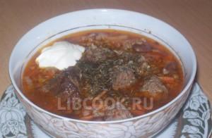 Мясной гречневый суп с капустой