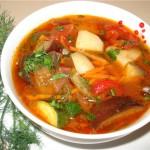 Суп из баклажанов и кабачков