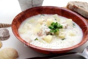 Суп из кальмаров с горошком