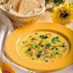 Сырный суп с зелёным горошком