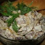 Салат из баклажан с копченим мясом