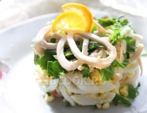 Закусочный салат из кальмаров «Моя прелесть»