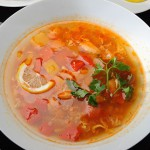 Острый суп из красной рыбы