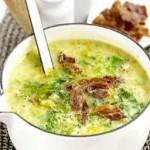 Сырный суп копченой грудинкой