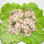 Салат из свинины и сыра с мятой