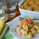Макароны в духовке с овощами и тунцом