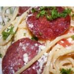 Спагетти с салями и помидорами